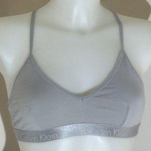 Calvin Klein light grey racerback bra size medium